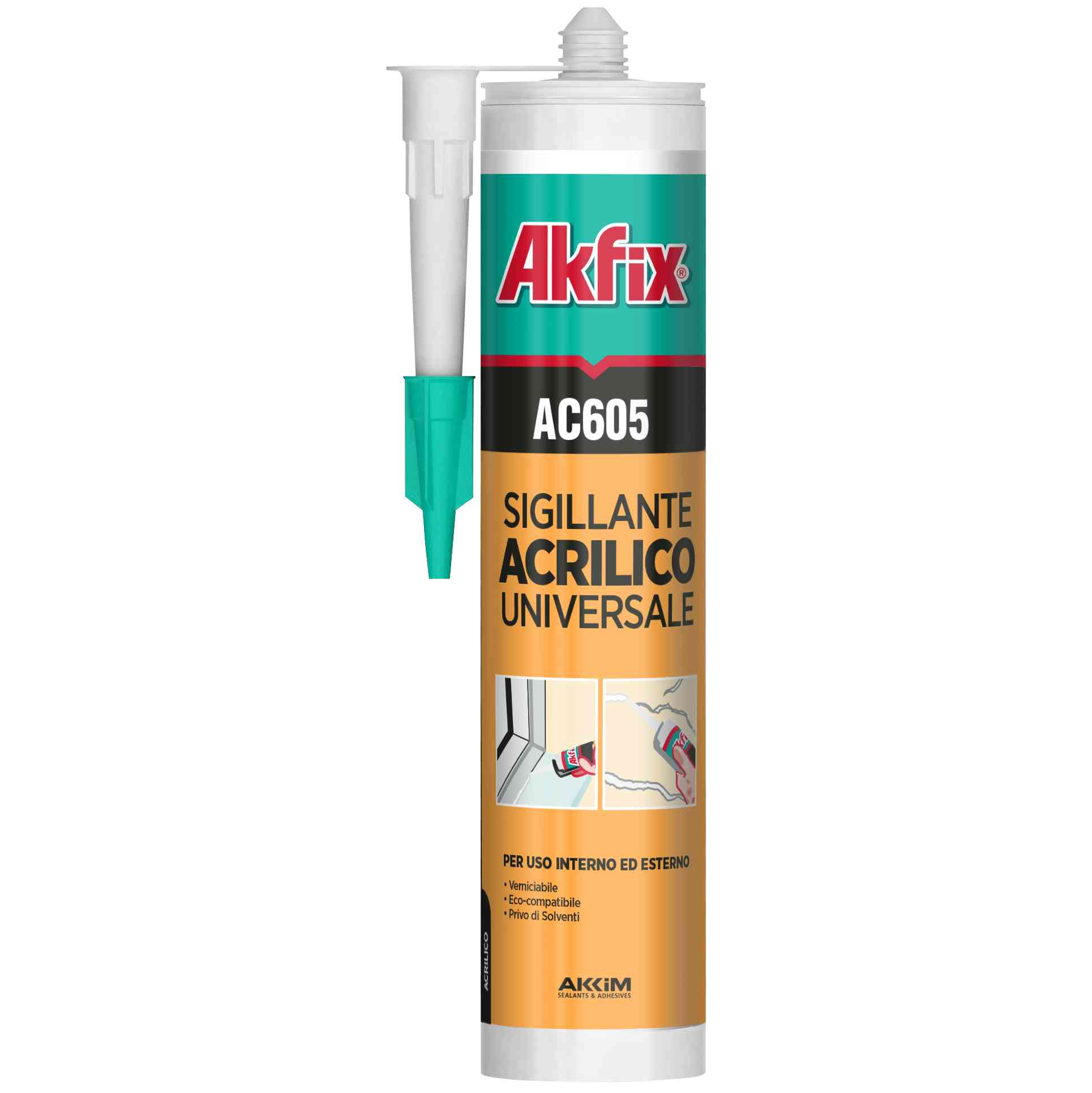 24 PZ Di AKFIX CARTUCCIA SILIC.ACRIL. AC605 B.CO 310ML