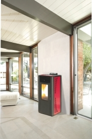 1 PZ Di STUFA PELLET 'KING 14' IDRO KW14 BORDEAUX