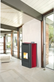 1 PZ Di STUFA PELLET 'KING 20' IDRO KW20 BORDEAUX