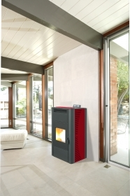 1 PZ Di STUFA PELLET 'KING 24' IDRO KW24 BORDEAUX
