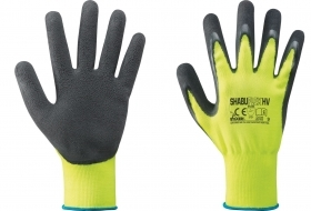 12 PA Di GUANTI NYLON/LATTICE GIALLO FLUO/NERO TG.9