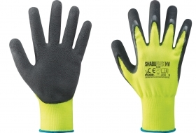 12 PA Di GUANTI NYLON/LATTICE GIALLO FLUO/NERO TG.10