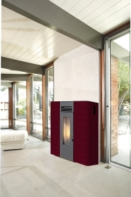 1 PZ Di STUFA PELLET KING IDRO 'SLIM 16' BORDEAUX